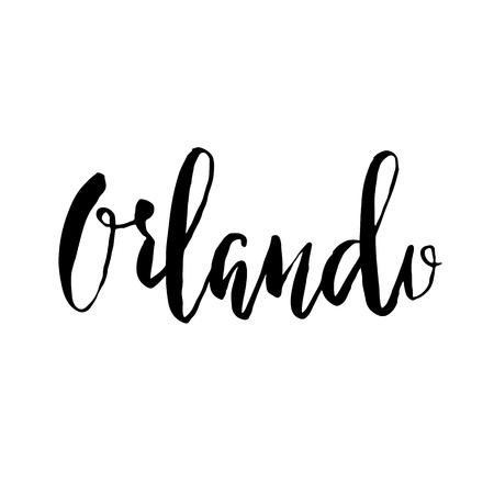 Orlando city Florida. Modern brush lettering. Vector illustration