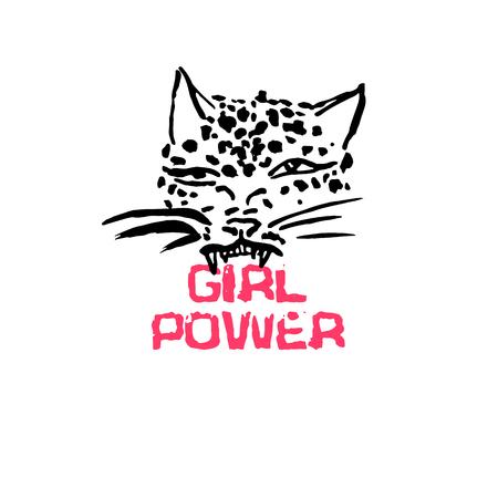 Leopard grunge print. Vector illustration of wild cat head. Modern lettering. Girl power Ilustração