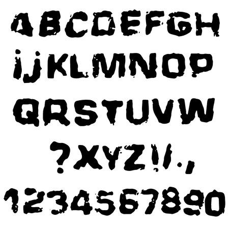 Distressed grunge alphabet. Stamp ink font. Vector illustration Vecteurs