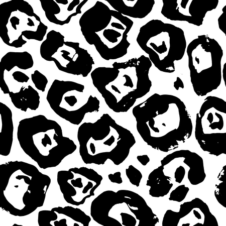 Seamless black and white leopard pattern. Animal skin grunge texture. Vector illustration. Banque d'images - 110865495