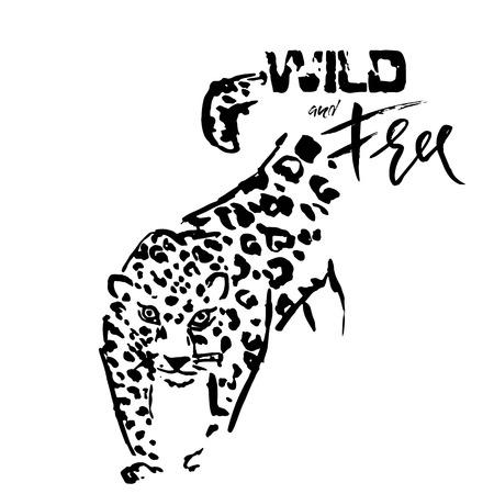 Leopard grunge print. Vector illustration of wild cat head. Wild and free Ilustração