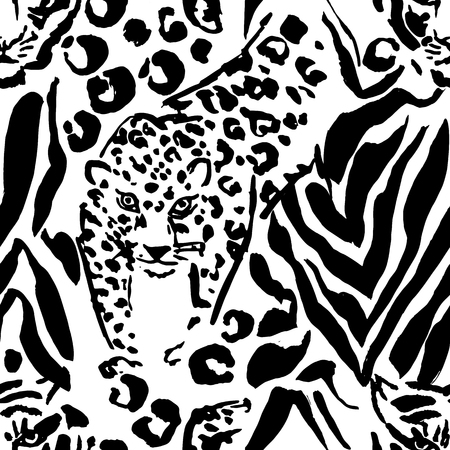 Vector illustration leopard print seamless pattern. Black and white tiger hand drawn background. Vector illustration