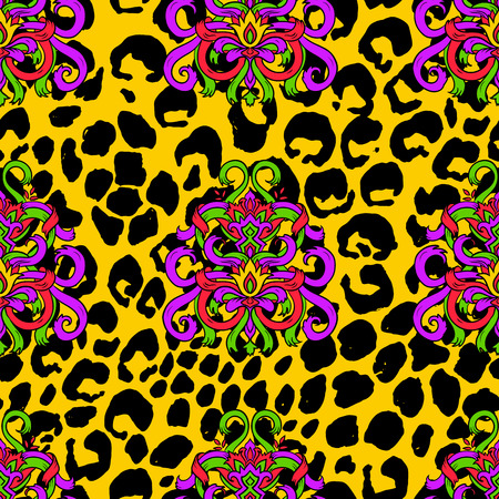 Brush painted tiger seamless pattern. Yellow leopard spots and doodle ribbon background Ilustração