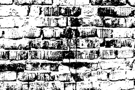 Grunge old brick texture. Vector black and white illustration.