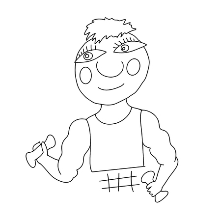 Body builder. Jock simple humorous. Vector illustration