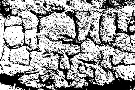 Grunge old plaster texture. Vector black and white illustration 矢量图像