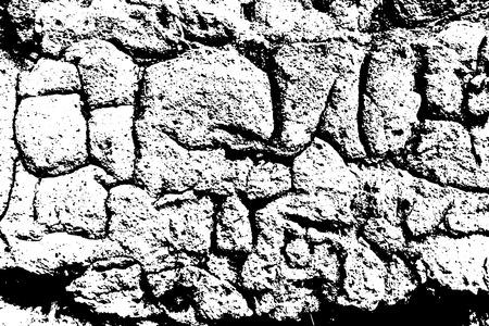 Grunge old plaster texture. Vector black and white illustration Illustration