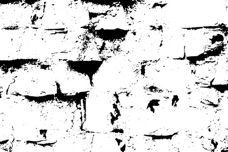 Grunge old brick texture. Vector black and white illustration. Vector Illustratie