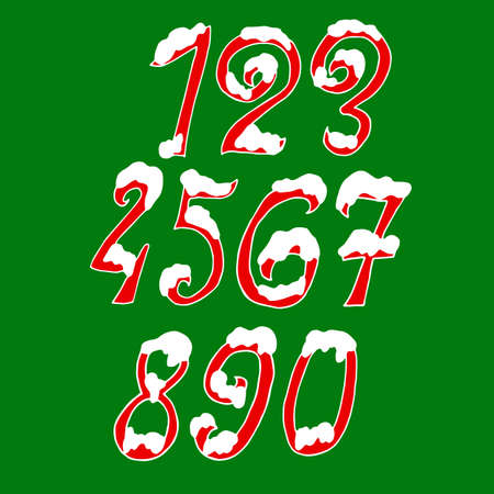 Christmas snowy digits. Holiday font with snow. Handdrawn numbers. Vector illustration