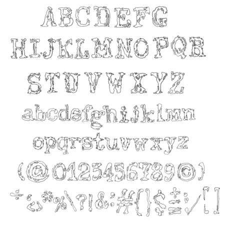 Vector old typewriter font. Vintage font. Old grunge font Illustration