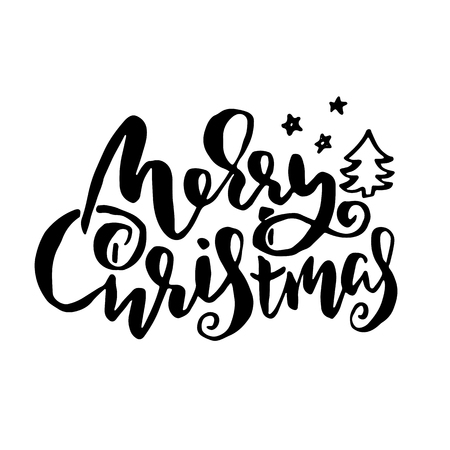 Merry Christmas. Holiday modern dry brush ink lettering for greeting card. Vector illustration
