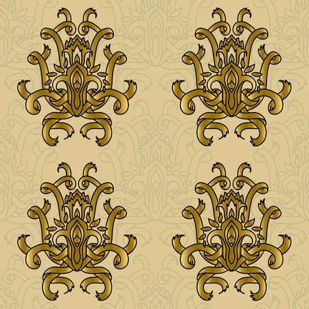 Vector damask seamless retro pattern. Curve ribbon ornament. Elegant luxury design