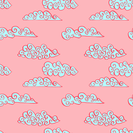 Pink sky with blue clouds. Seamless ink pattern. Vector texture
