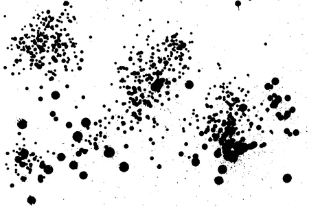 Ink grunge drops texture. Black hand drawn splashes and stains on white background