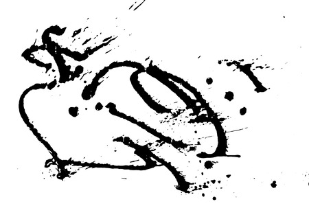 Ink grunge drops texture. Black hand drawn splashes and stains on white background.