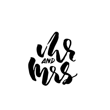 Mr and Mrs. Modern brush pen lettering. Wedding template. Bride and groom card. Vector illustration