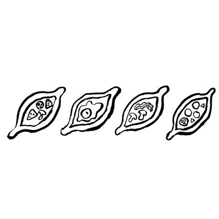Khachapuri grunge icon set. Brush ink vector illustration