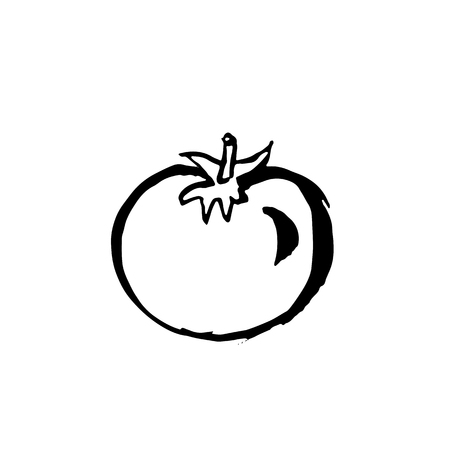 Tomato icon. Vector brush ink illustration