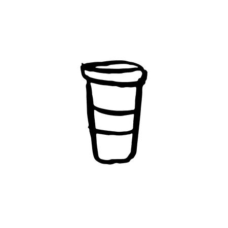 Coffee cup grunge icon. Vector cardboard mug Иллюстрация