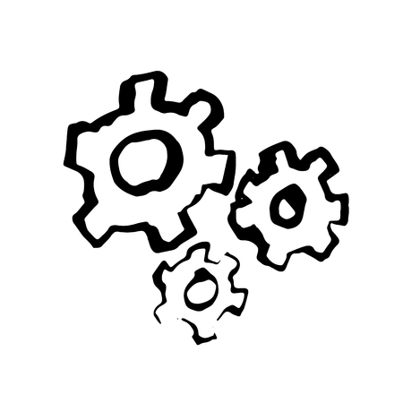 Gears grunge icon. Vector illustration