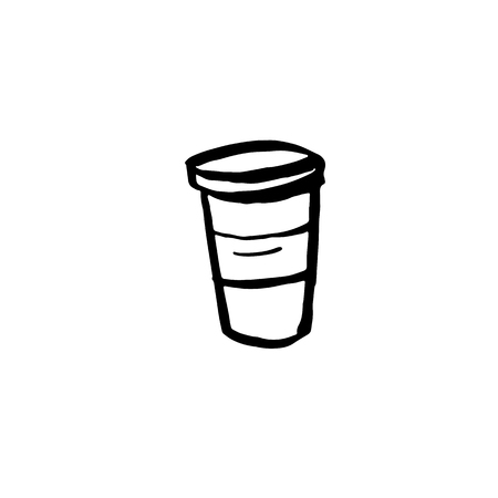 Coffee cup grunge icon. Vector cardboard mug Фото со стока - 126434789