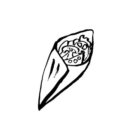 Vector mushrooms and vegetables roll. Fast food meal. Doner kebab ink illustration. Vector Illustratie