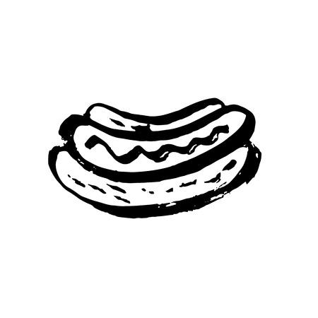 Vector fast food meal grunge icon. Hotdog ink illustration
