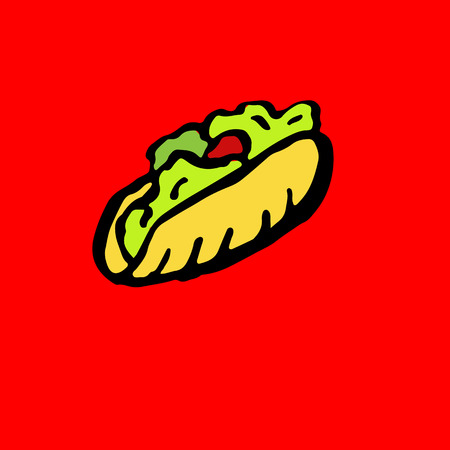 Vector fast food meal grunge icon.Kebab ink illustration