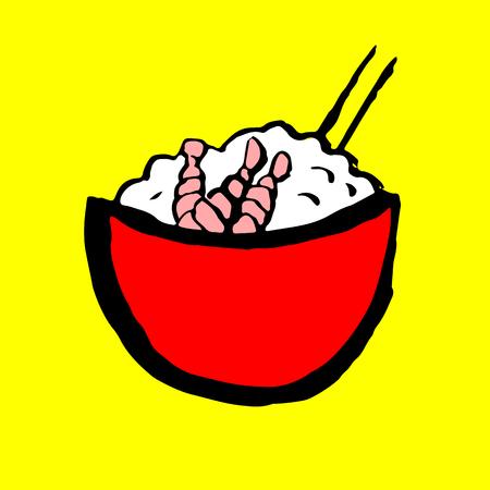Rice with prawn icon. Grunge ink brush vector illustration. Food flat illustration