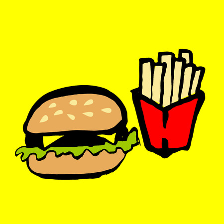 Fast food grunge ink icon. Brush hand drawn watercolor burger and potato. Vector illustration