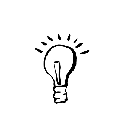 Light bulb grunge icon. Vector handdrawn illustration