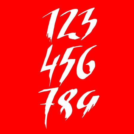 Set of grunge handdrawn numbers. Modern dry brush lettering. Vector illustration. Vektorové ilustrace