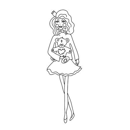 Princess girl with Teddy bear sketch. Vector illustration