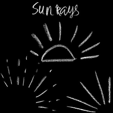 Chalk sunburst set. Grunge sunrays collection. Vector illustration