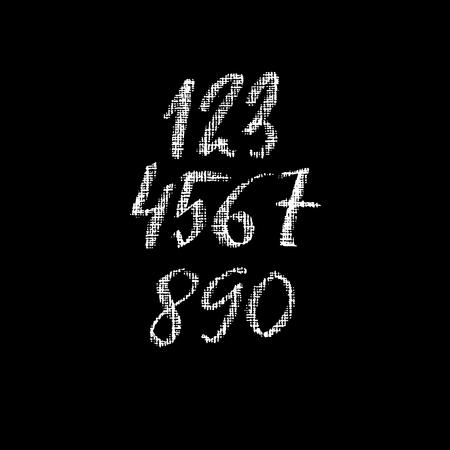 Set of grunge chalk textured numbers. Modern chalk lettering. Vector illustration