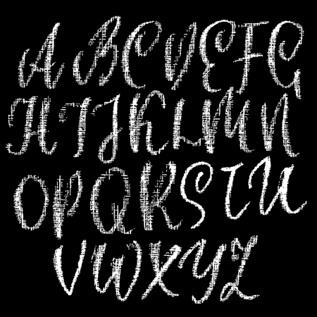 Chalk textured font. Grunge script on chalkboard. Vector calligraphy illustration. 矢量图像