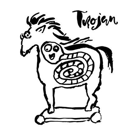 Trojan horse with worm inside. Computer virus symbol. Grunge dry brush vector illustration