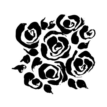 Abstract grunge ink flower background. Roses black brush pattern. Vector illustration Ilustração