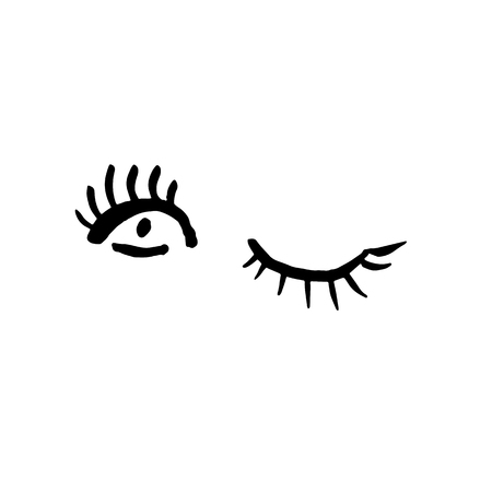 Winking eyes on white background. Grunge brush vector illustration