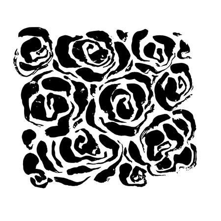 Abstract grunge ink flower background. Roses black brush pattern. Vector illustration Illustration