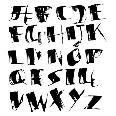Grungy modern dry brush lettering. Handdrawn grunge ink font. Vector illustration Ilustração