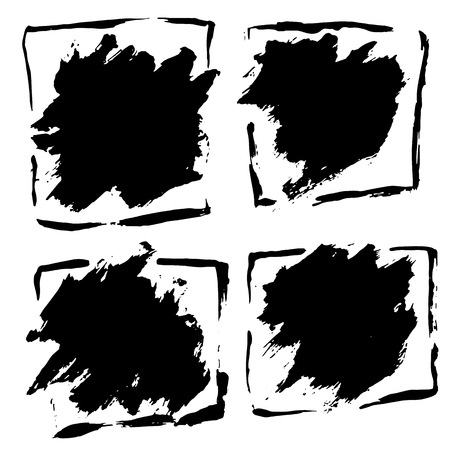 Ink vector dry brush frame set. Vector illustration. Grunge hand drawn watercolor texture. Space for text Illustration