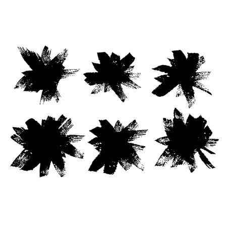 Abstract hand drawn ink dry brushes set. Vector illustration