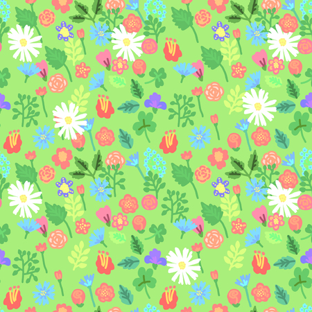 Simple flowers seamlessn pattern. Vector illustration Ilustração