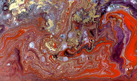 Red and black marbling pattern. Golden marble liquid texture.