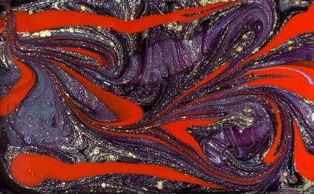 Purple and red marbling pattern. Golden marble liquid texture.