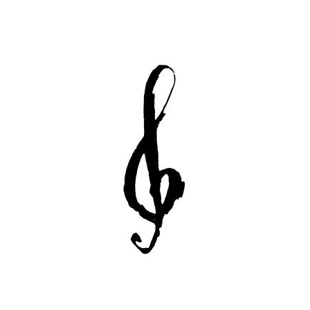 Treble clef icon. Grunge brush vector illustration
