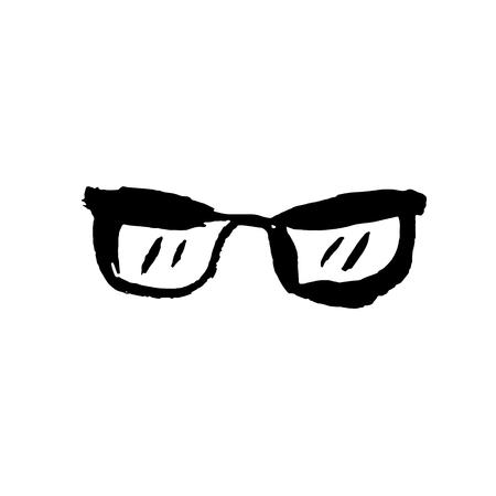 Glasses icon. Grunge vector dry brush illustration Illusztráció