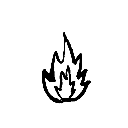 Flame icon. Grunge fire brush vector illustration