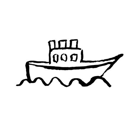 Boat grunge icon. Vector hand drawn illustration